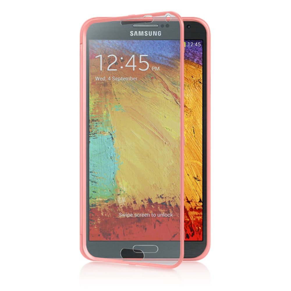 Insten Wrap-up Hard Skin Back Case w/ Screen Protector For Samsung Galaxy Note 3 - Pink - image 3 of 3