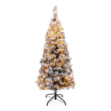 Best Choice Products 4.5ft Pre-Lit Artificial Snow Flocked ...