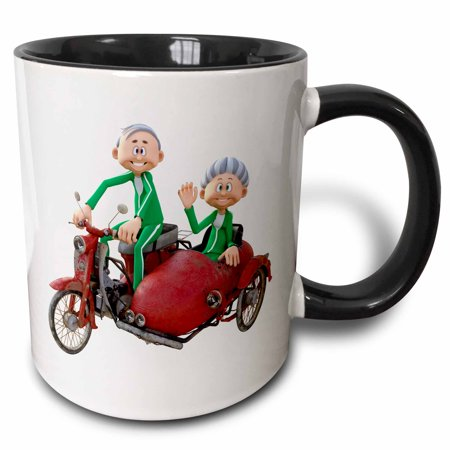 3dRose A Cartoon Elderly Couple Riding a Scooter with a Sidecar - Two Tone Black Mug, 11-ounce