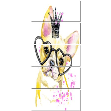 Design Art 'Funny Dog with Large Glasses' 5 Piece Painting Print on Wrapped Canvas