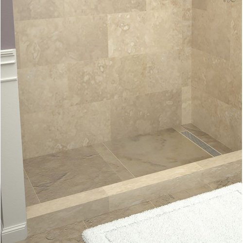"Tile Redi RT3048R-PVC-SQ Redi Trench 48"" X 30"" Three Wall Alcove Shower Pan with"