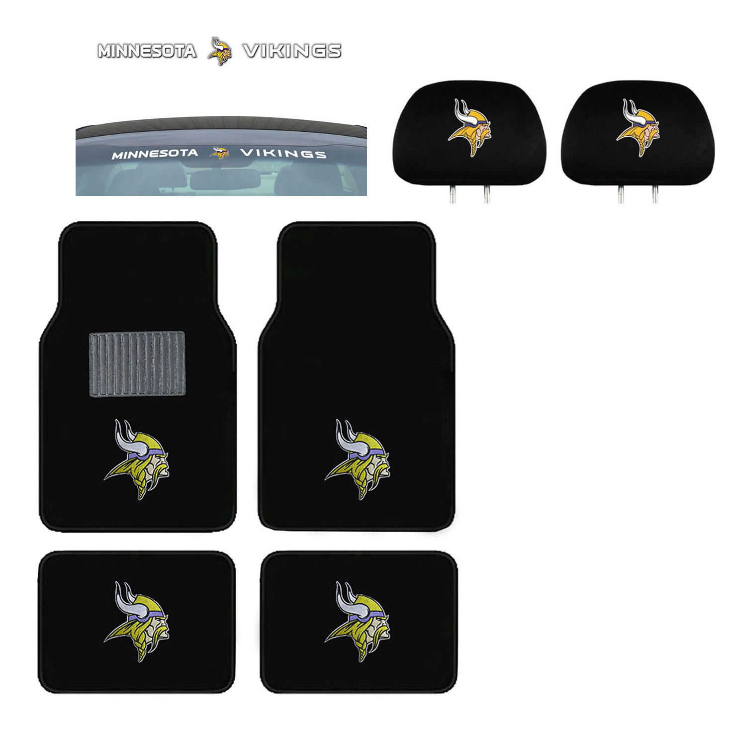 Minnesota Vikings 4 Pc Carpet Floor Mats And Head Rest Cover With Windshield Decal