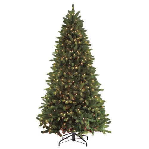 Puleo International 7.5' Green Fir Artificial Christmas Tree with 700 Clear Lights with Stand