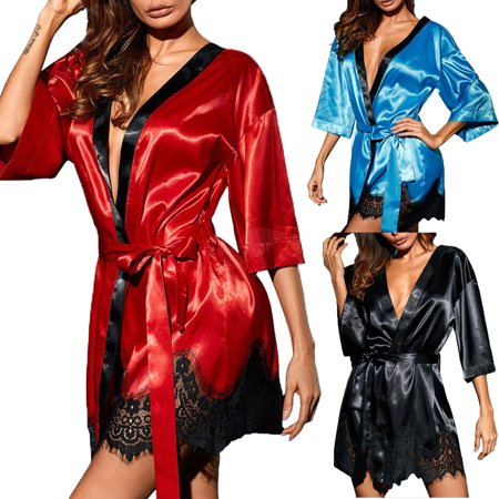 de57d6a578 ZAXARRA - Women Satin Lace Silk Underwear Lingerie Nightdress Sleepwear  Robe Plus Size Blue XXXL - Walmart.com
