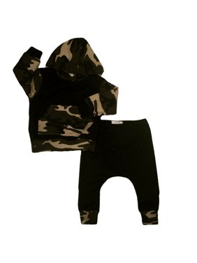 e4e0b4d1 Product Image Casual Toddler Baby Kids Boy Camo Hooded Tops Pants 2Pcs  Outfits Set Clothes