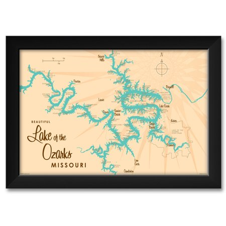 Art Framed Art Prints (Lake of the Ozarks Map Framed Art Print by Lakebound . Print Size: 12