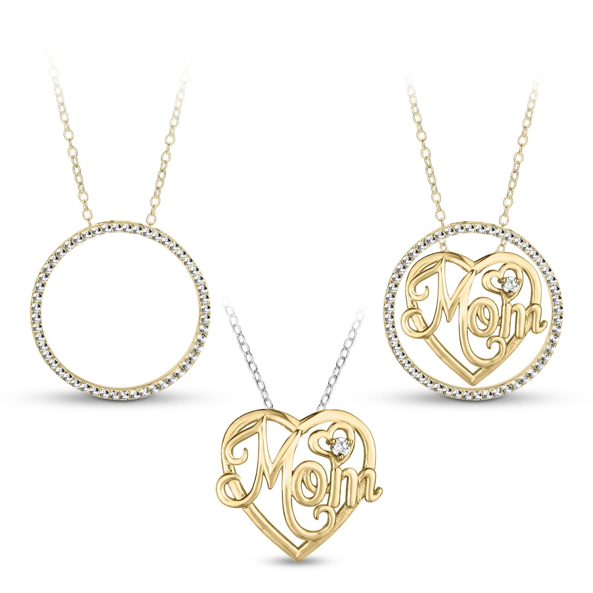 White CZ Sterling Silver and 18kt Gold over Sterling Silver Mom Heart Circle 3-in-1 Interchangeable Necklace, 18""