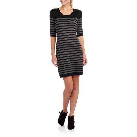 Image of Allison Brittney Women's Elbow Sleeve Striped Sweater Dress