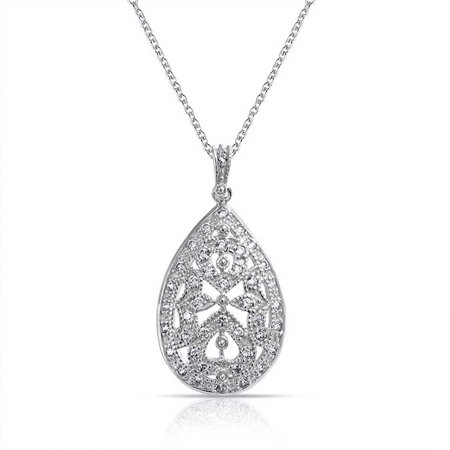 Vintage Victorian Style Bridal Prom Holiday Wedding Pear Shape Teardrop Pendant Necklace For