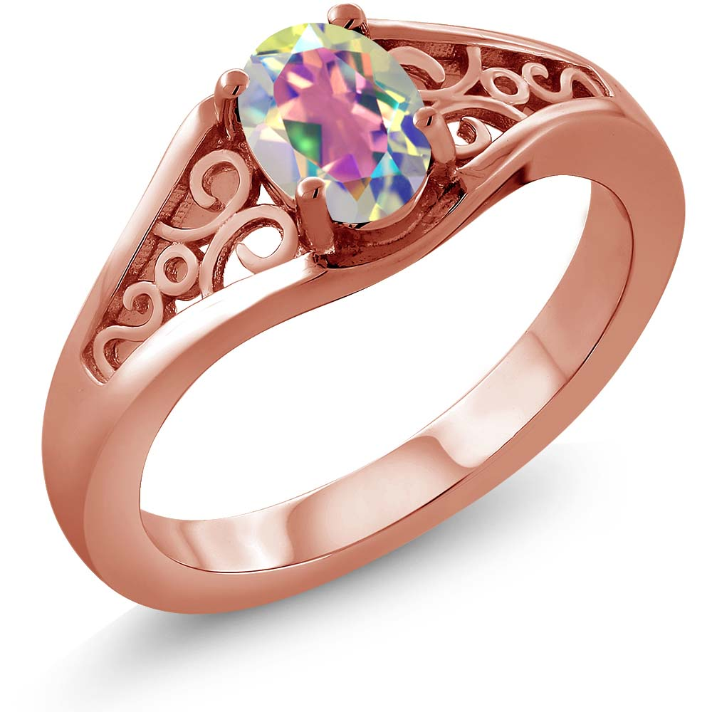 0.95 Ct Oval Mercury Mist Mystic Topaz 925 Rose Gold Plated Silver Ring