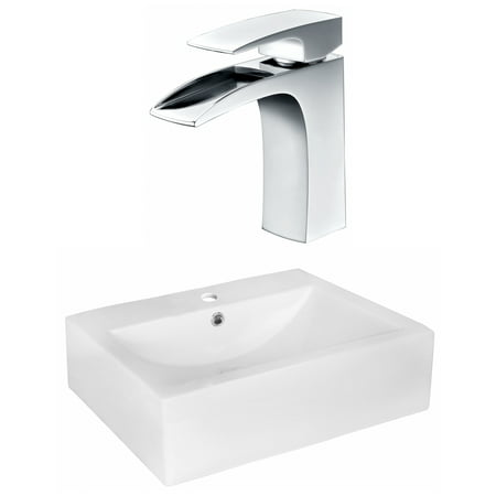 Rectangle Single Hole - 20.25-in. W Above Counter White Vessel Set For 1 Hole Center Faucet - Faucet Included