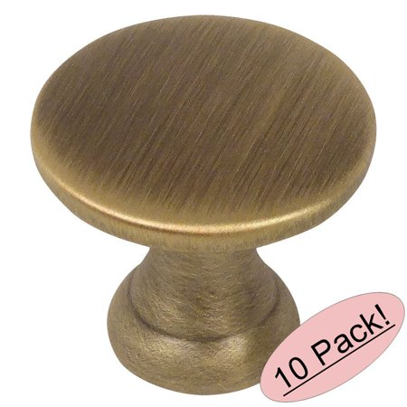 - Cosmas 4545BAB Brushed Antique Brass Cabinet Hardware Round Knob - 7/8