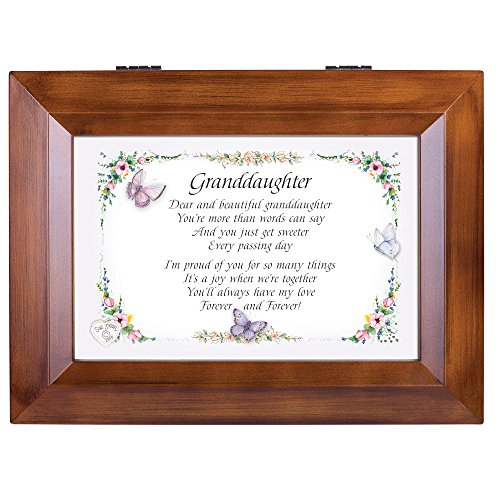 Plays Tune You are My Sunshine Cottage Garden Granddaughter You are The Greatest Wood Finish Jewelry Music Box