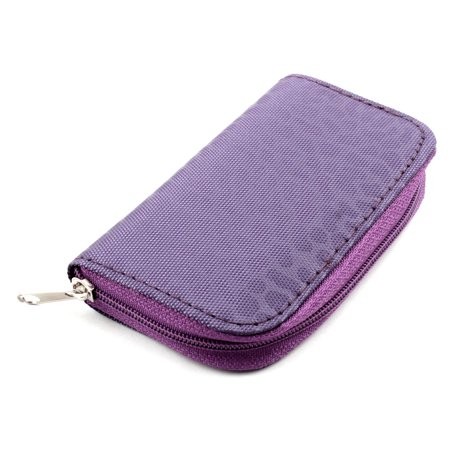 Unique Bargains Nylon 22 Slots Storage Carrying Pouch Case Bag Purple for CF MMC Micro SD Card - image 1 of 4