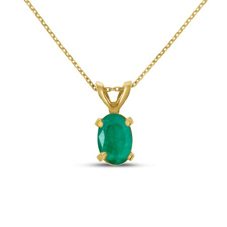 - 14k Yellow Gold Oval Emerald Pendant with 18