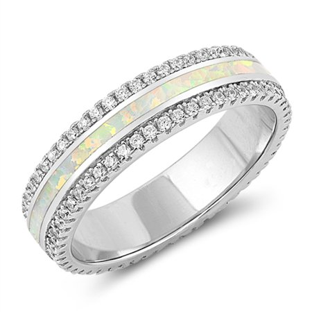 Opal Wedding Band.White Simulated Opal Wedding Ring Sizes 5 6 7 8 9 10 925 Sterling Silver Sparkle Bling Band Rings By Sac Silver Size 6