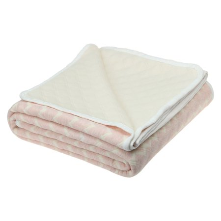 Cotton Quilted Throw Bedding Blanket Breathable Smooth Light Pink 180 X 210cm