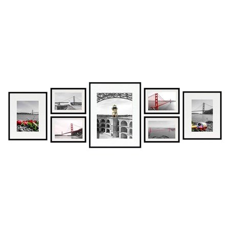 Black Ivory Art (Golden State Art, Set of 7, Black Photo Gallery Wall Frame Collection with Ivory Color Mat and Real Glass)