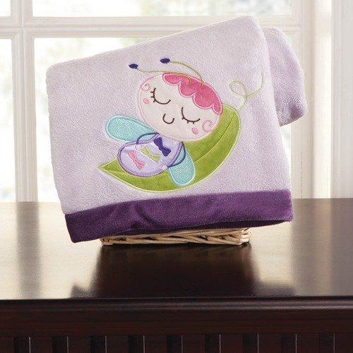 Kids Line Flutter Bug Embroidered Boa Blanket