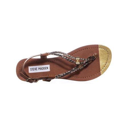 Steve Madden Foolish Flat Buckle Sandals, Cognac Multi - image 1 de 6