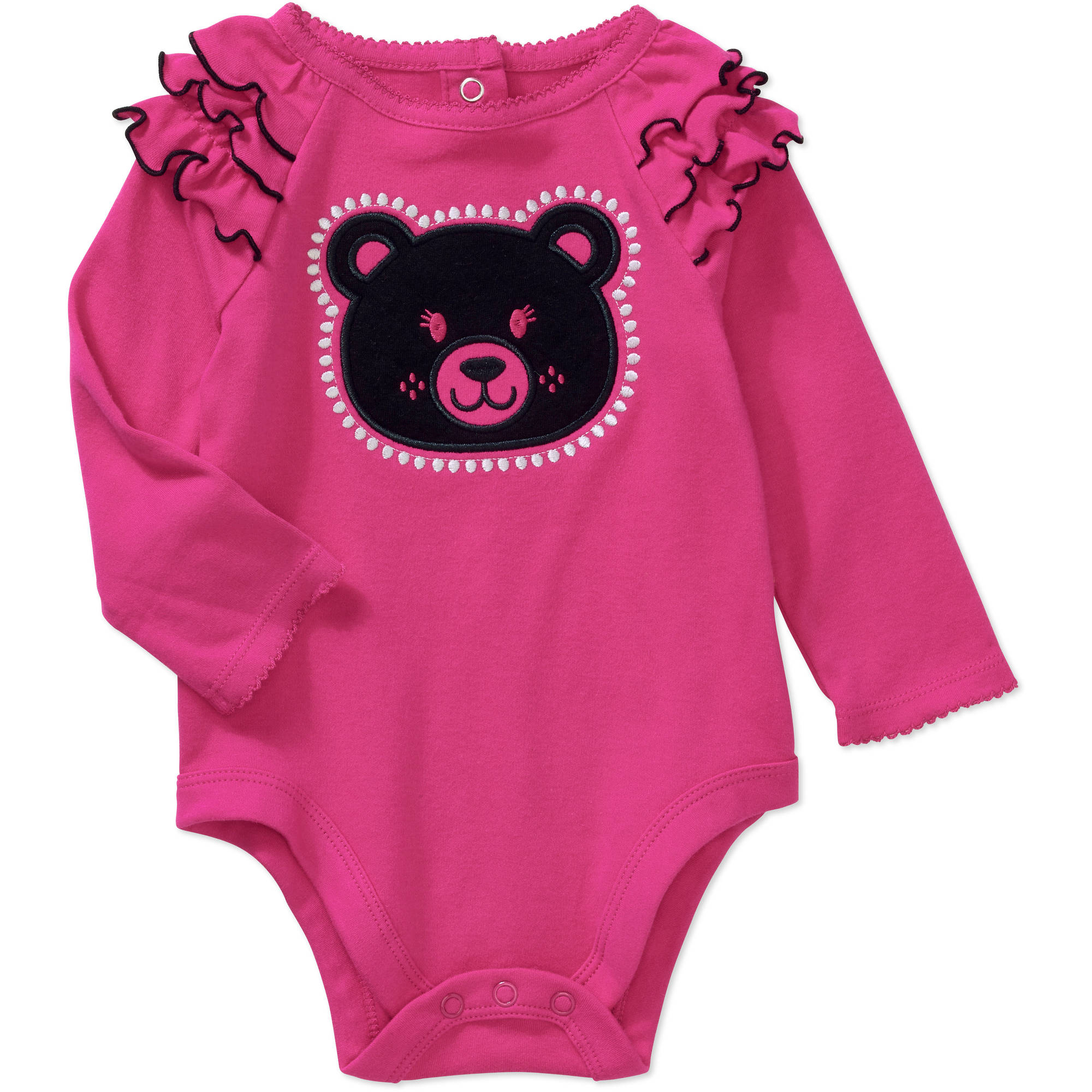 Garanimals Newborn Baby Girl Long Sleeve Raglan Flutter Graphic Bodysuit