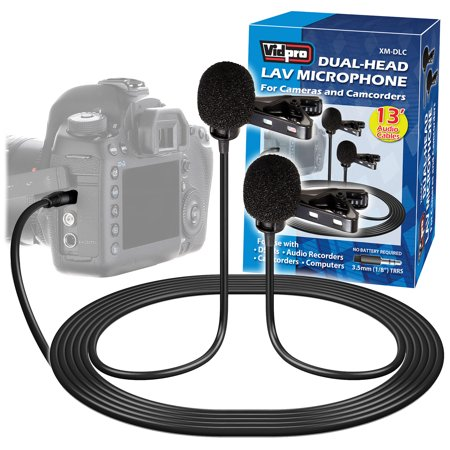 Camcorders Lavaliere (Vidpro XM-DLC Dual-Head Interview Lavalier Microphone for DSLR Cameras & Camcorders)