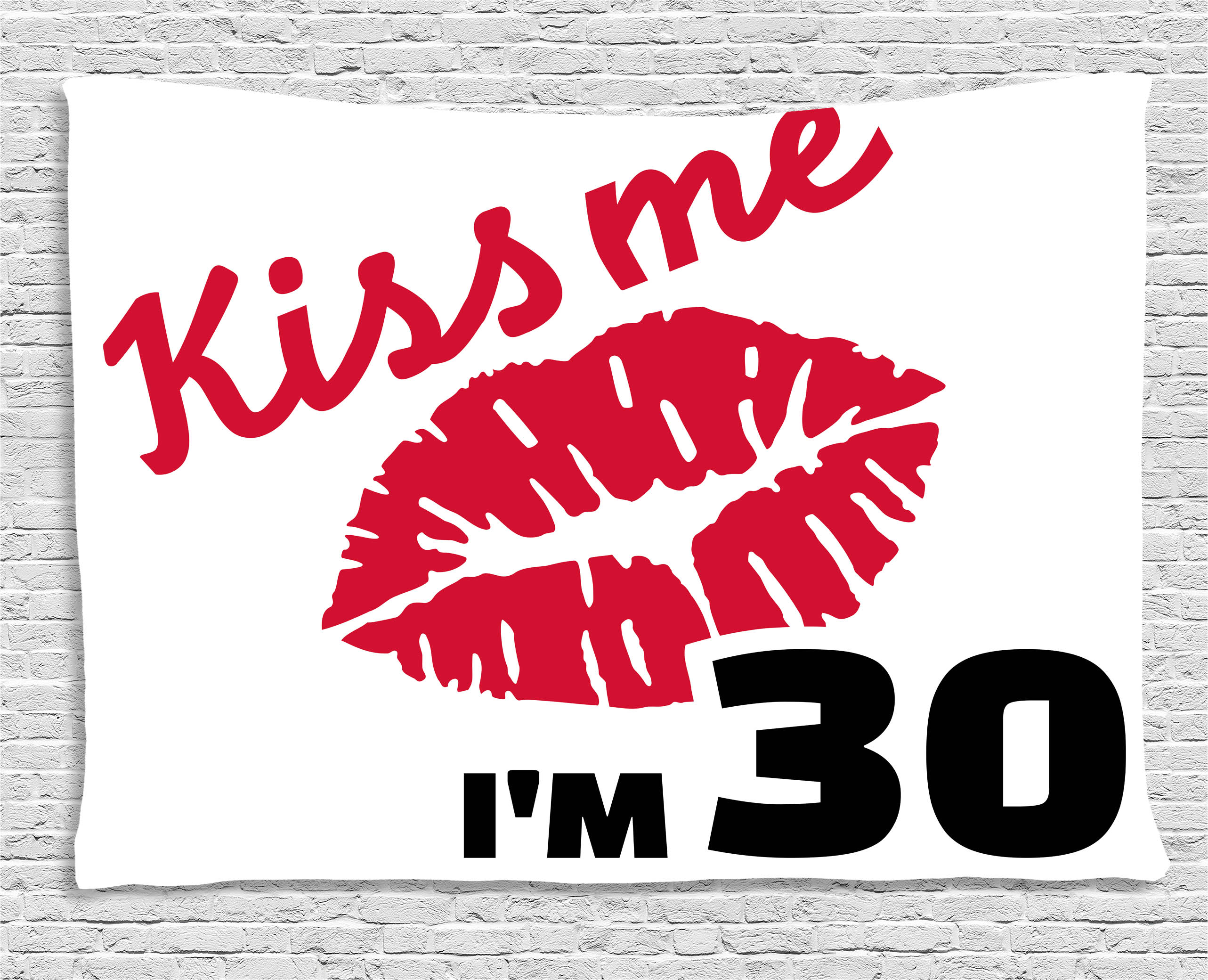 30th Birthday Decorations Tapestry, Kiss Me I'm 30 Slogan Sexy Lips Hand Writing Stencil Art, Wall Hanging for... by Kozmos