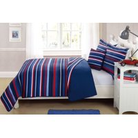 Fancy Linen 3pc Twin Size Bedspread Striped Navy Blue Red White Reversible New