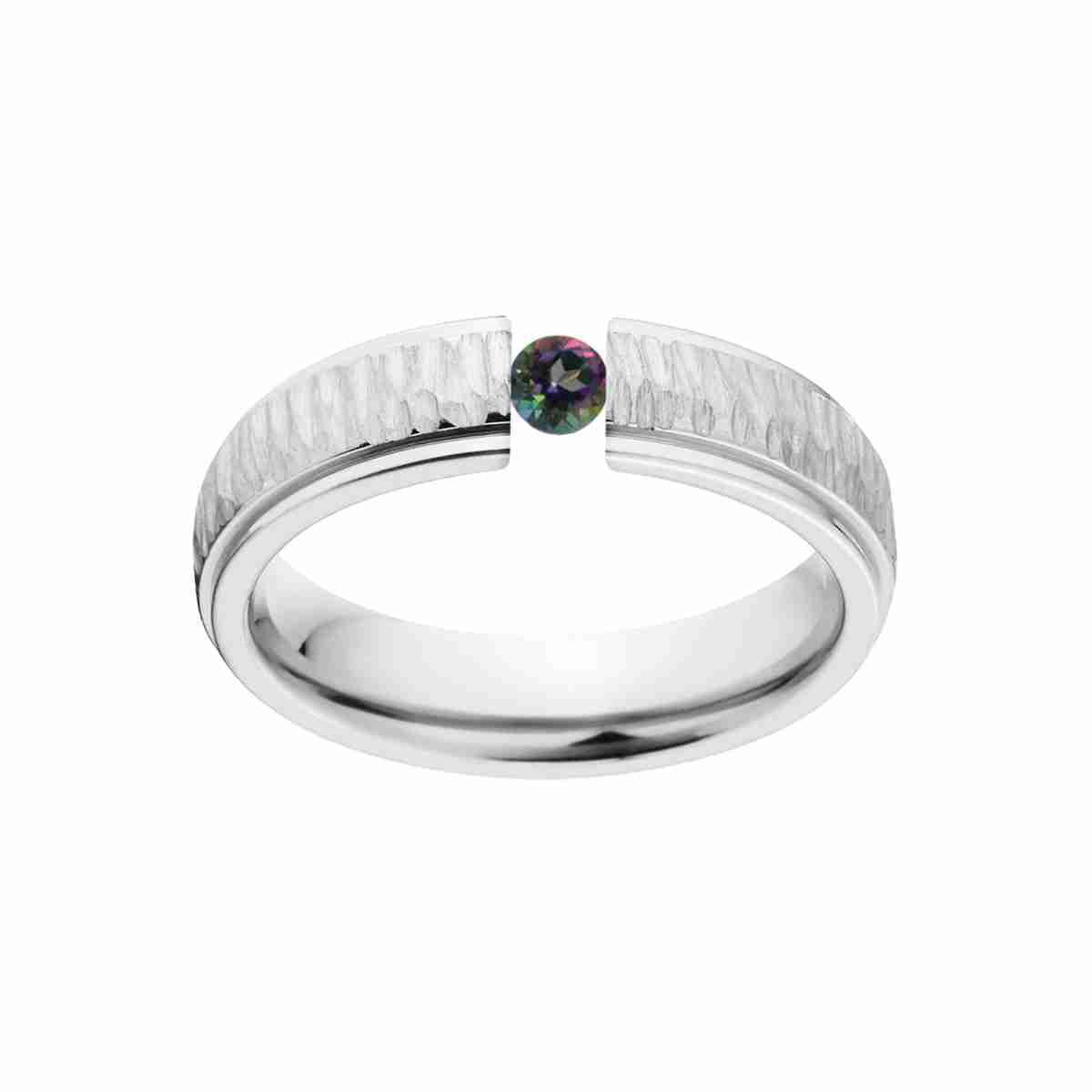 Mystic Topaz 5mm Stainless Steel Custom Tension Set Ring by Luxurien