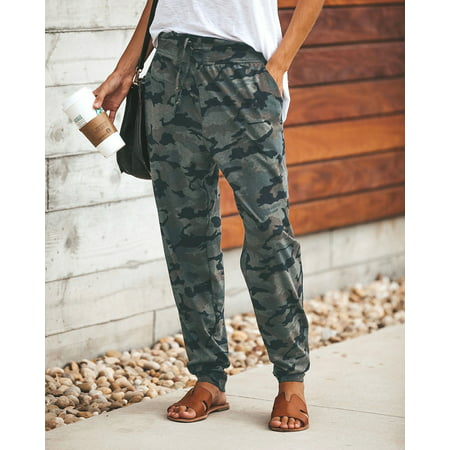 The Noble Collection Womens Camo Cargo Trousers Casual Pants Military Army Combat Camouflage