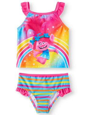 Trolls Toddler Girl Ruffle Tankini Swimsuit