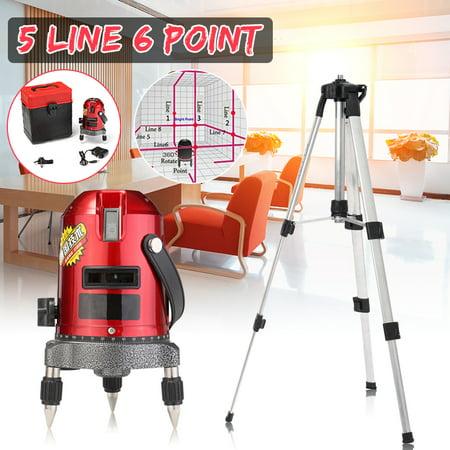 Red Adjustable Self Leveling 5 Line 6 Point 4V1H Laser Level Measure Machine With 1.2M Tripod