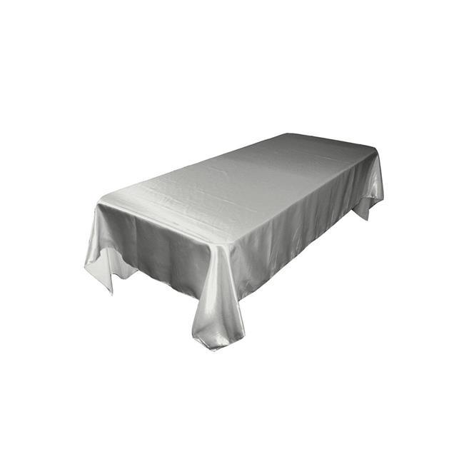 LA Linen TCbridal60X84-SilverB41 Bridal Satin Rectangular Tablecloth, Silver 60 x 84 in. by LA Linen