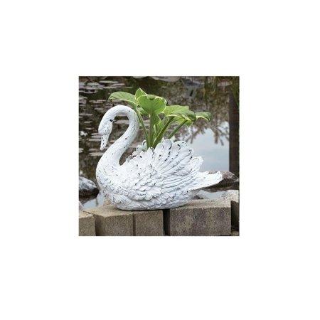 15 Distressed White Swan Outdoor Garden Planter Decoration