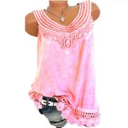 6e10f14bc71 Women O-Neck Sleeveless Pure Color Lace Plus Size Vest Tops Loose T-Shirt  Blouse