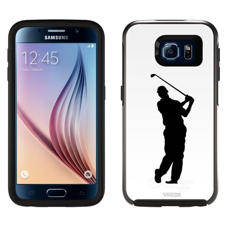 Skin Decal For Otterbox Symmetry Samsung Galaxy S6 Case   Silhouette Golf Player On White