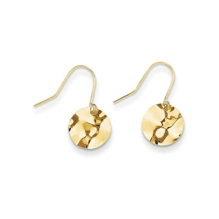 Kids 9mm Hammered Circle Dangle Earrings in 14k Yellow Gold ()