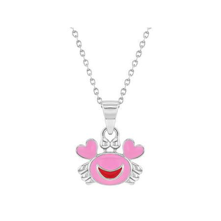 925 Sterling Silver Crab Necklace Pendant Pink Enamel Nautical Sea Girls -