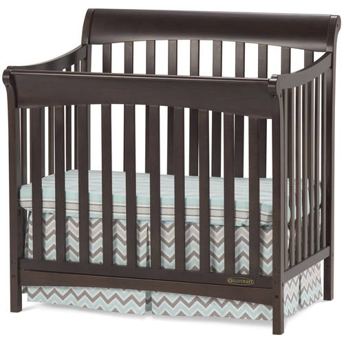 Child Craft Ashton Mini 4-in-1 Convertible Crib with Mattress, Slate