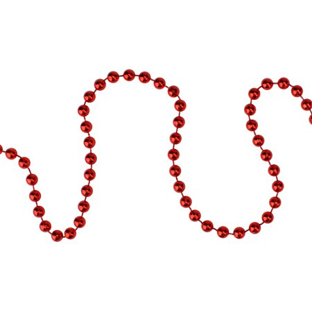 15' x 6mm Shiny Metallic Faceted Crimson Red Beaded Christmas Garland ()