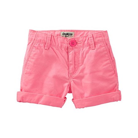 OshKosh B'gosh Baby Girls' Twill Roll Cuff Shorts- Neon Pink- 18 (Oshkosh Girls Shorts)