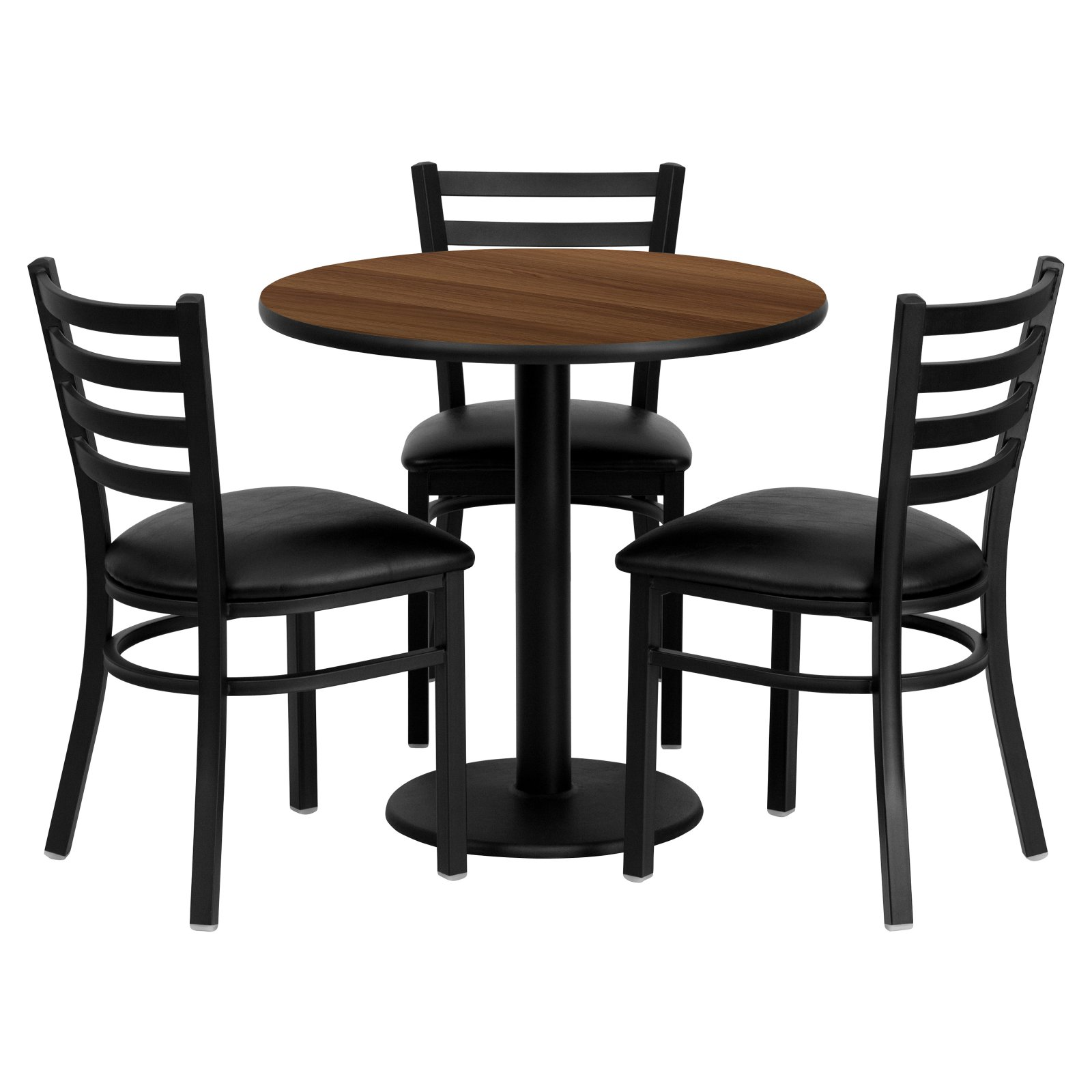 Flash Furniture 30'' Round Walnut Laminate Table Set with 3 Ladder Back Metal Chairs, Black Vinyl Seat