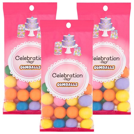 (3 Pack) Celebration by Frey Tie Dye Mix Gumballs, 8 oz