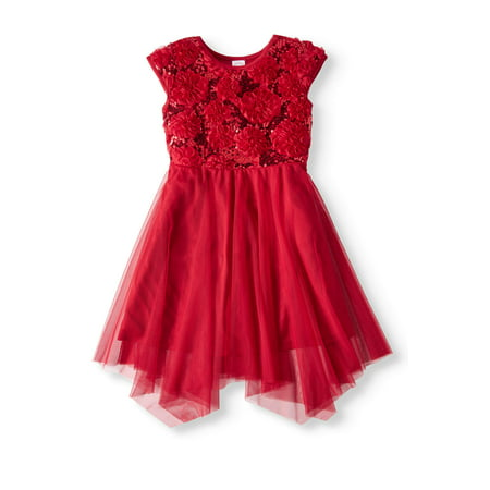 Wonder Nation Floral Soutache Holiday Dress (Little Girls & Big Girls)