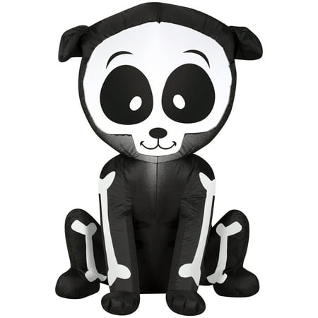 Airblown Inflatable Skeleton Puppy by Gemmy - Dog Skeleton Halloween Decoration