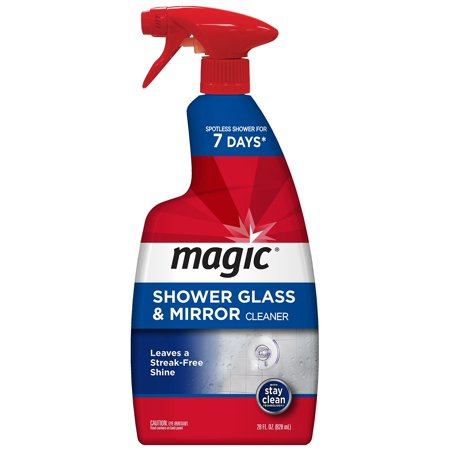 Magic American Glass Cleaner Magic Shower Door Cleaner-28 Ounce-Removes Soap Scum Mildew and Mold Get a Crystal Streak-Less Shine, 28 oz. (Best Cleaner To Remove Soap Scum From Bathtub)