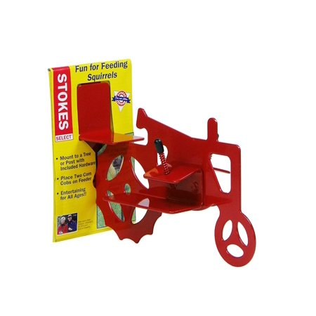 Mounted Squirrel (Tractor Cob Squirrel Feeder, Red, 2 Corn Cob Capacity, Mount to a tree or post with included hardware. By Stokes Select Ship from)