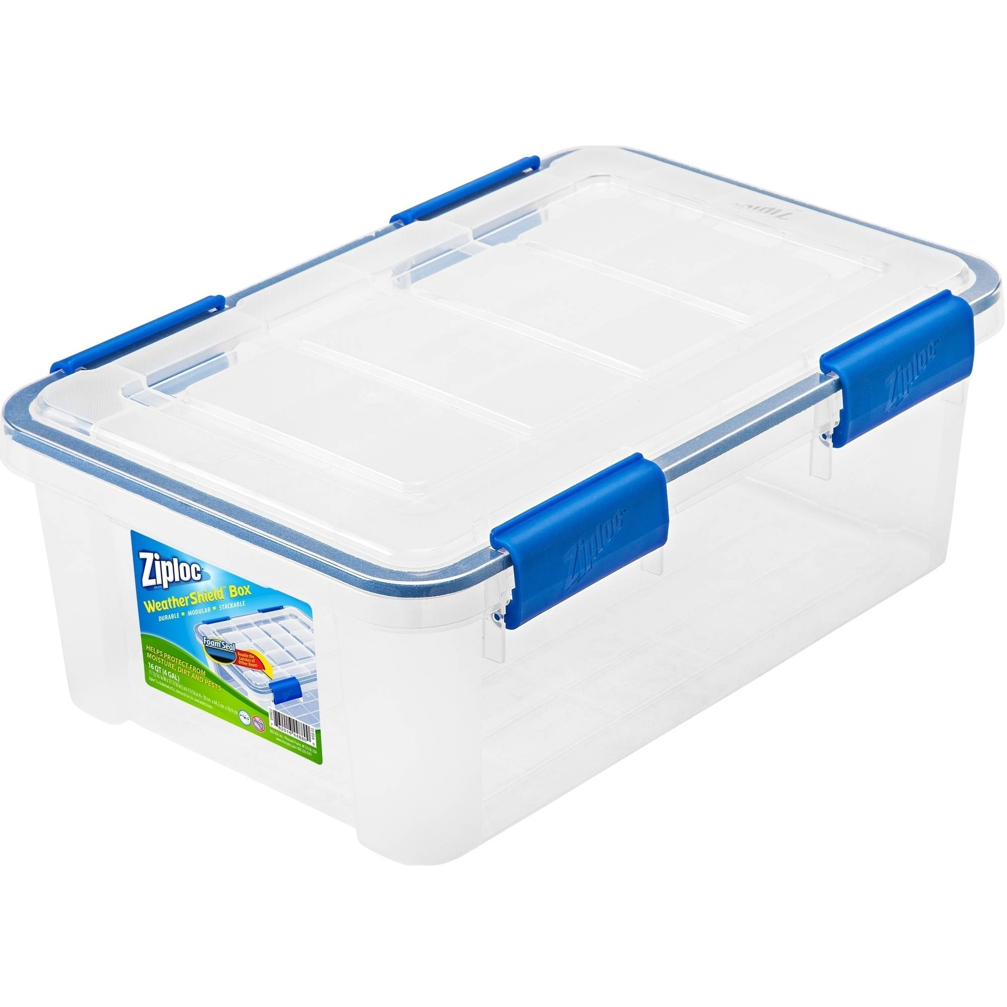 Ziploc 16 qt WeatherShield Storage Box, Clear