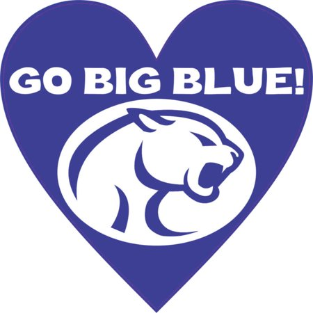 4in x 4in Go Big Blue Heart Sticker Vinyl School Sports Bumper -