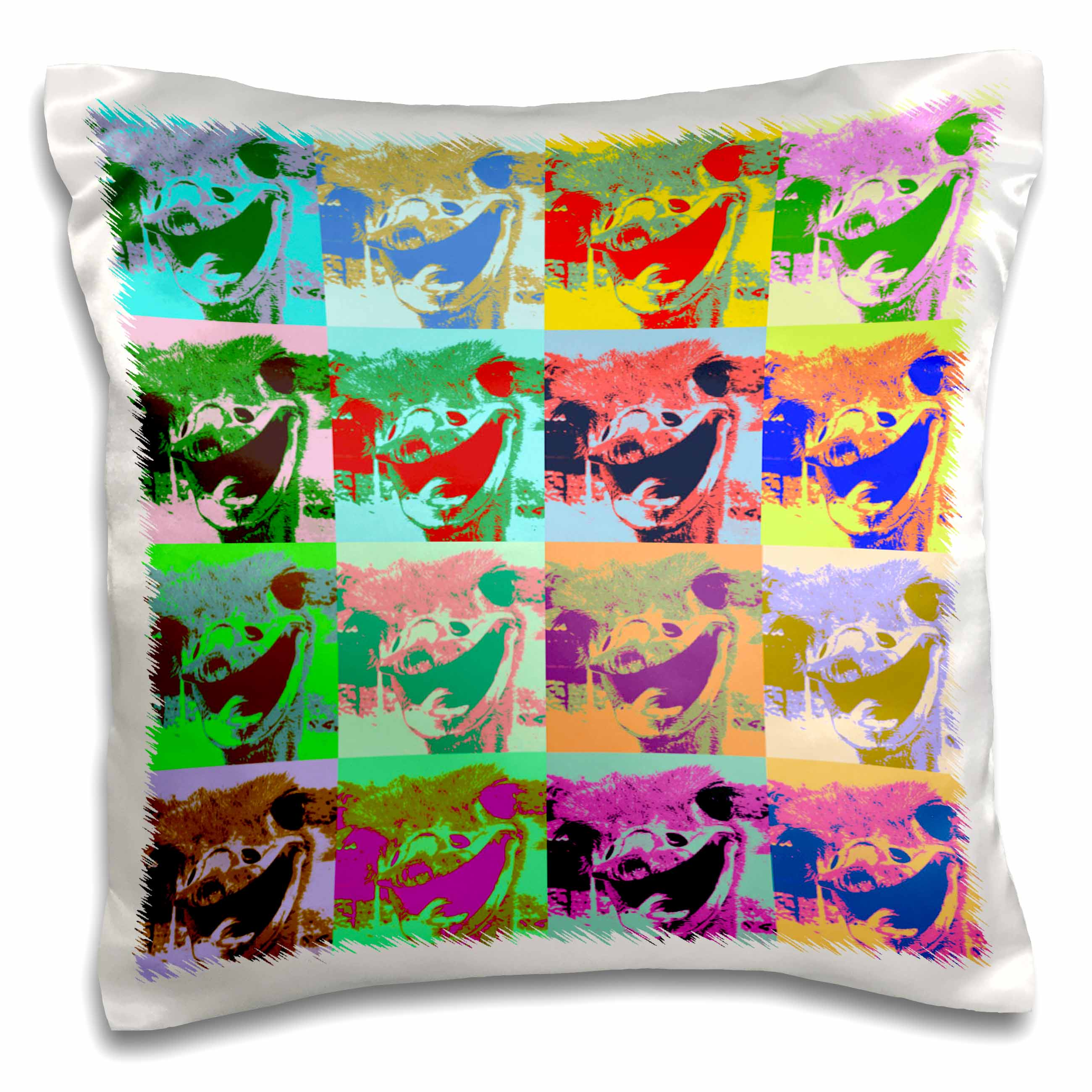 3dRose Ostrich Pop Art, Pillow Case, 16 by 16-inch